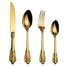 Royal home luxury 24k gold plated cutlery for hotel restaurant, retro vintage rose gold cutlery,  wedding flatware