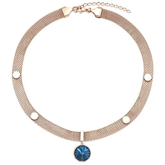 XUPING 00993 Rivoli Steen Kristallen uit Swarovski chocker womens lichtmetalen rose gold plated choker ketting