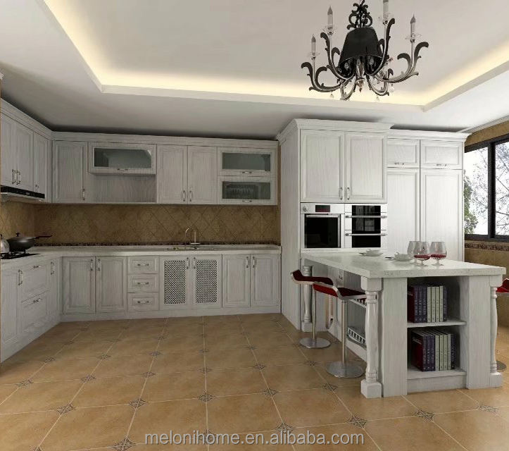 White Color Quartz Countertop Oak kitchen cabinet with island