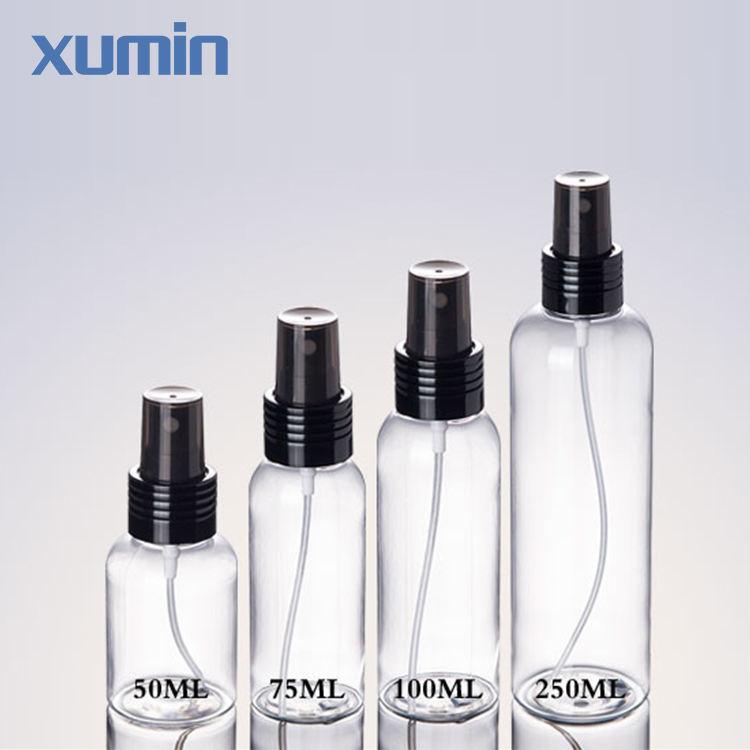 Герметичные дизайн, черный колпачок 50 мл 100 мл 75 мл 250 мл clear спрей пластиковые бутылки ПЭТ