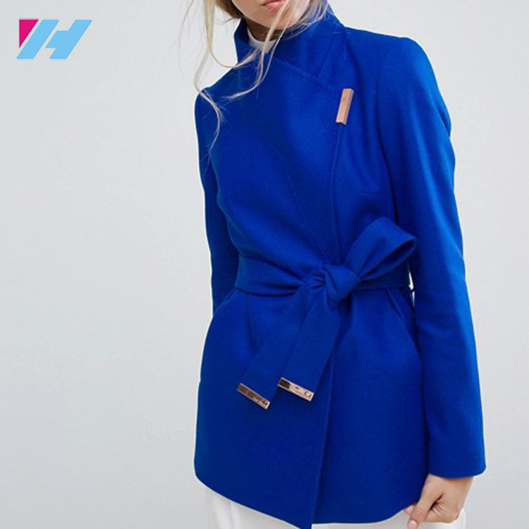 High Quality Ladies Royal Blue Woolen Jackets Coats plus size women coat custom made high fashion wool Handsome women coat