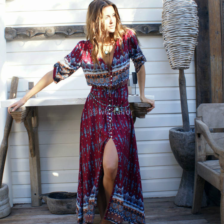 Women's clothing manufacturer black multi colored long boho elegant vintage maxi dress