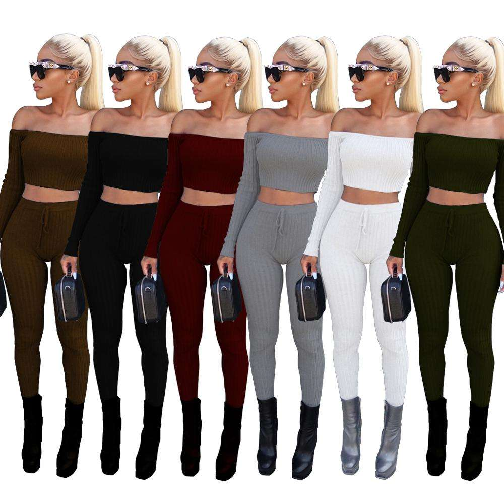 FM-3307 Latest Design winter ladies knit off shoulder top and pants set Two-piece sexy women suit