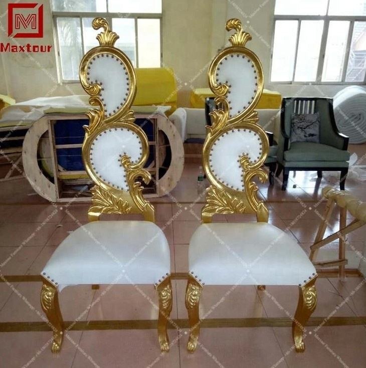 Luxury royal wooden white king throne high back hotel sofa chairs for wedding events