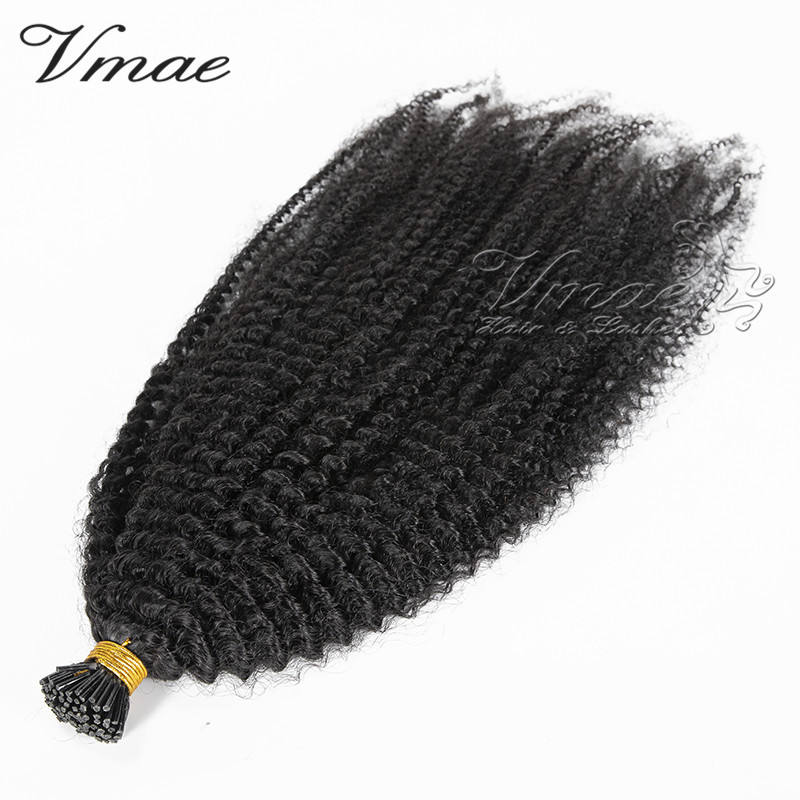 VMAE Indian Raw Virgin Natural Black Pre Bonded Cuticle Aligned Human Hair Keratin Stick Prebonded Afro Kinky Curly I Tip