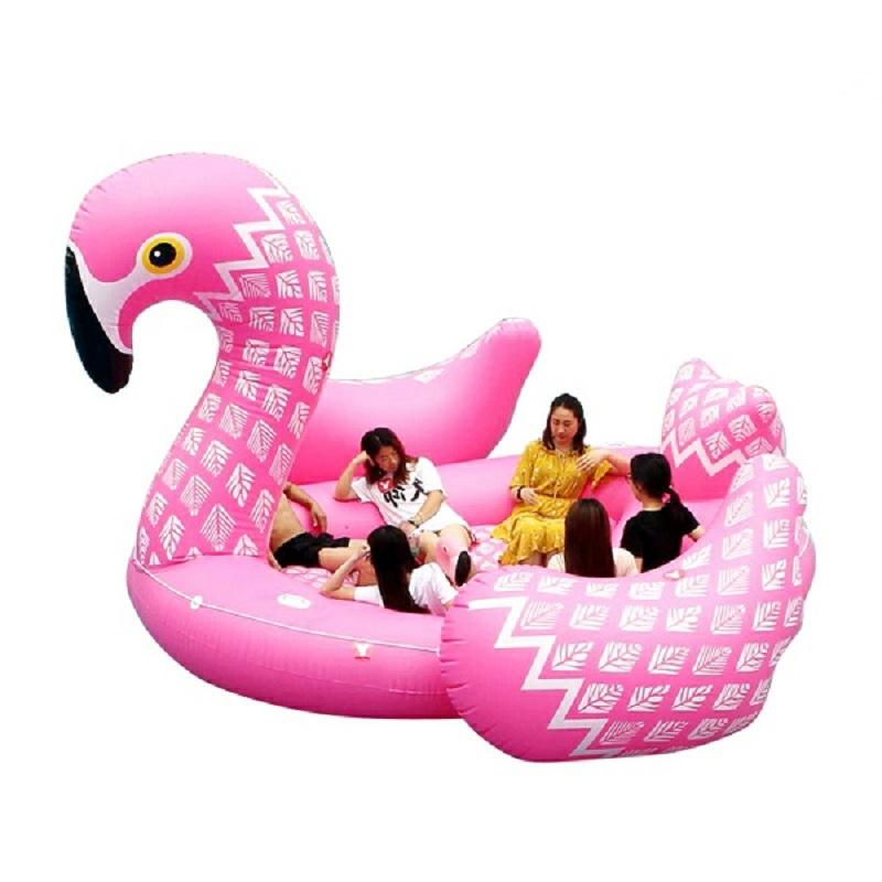 2018 new custom huge big inflatable flamingo unicorn swan giant water bed 6 person sea float