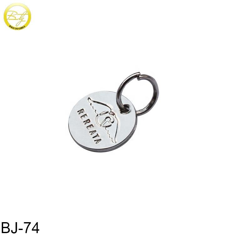 Custom logo engraved disc tags charms metal round charm jewelry accessories