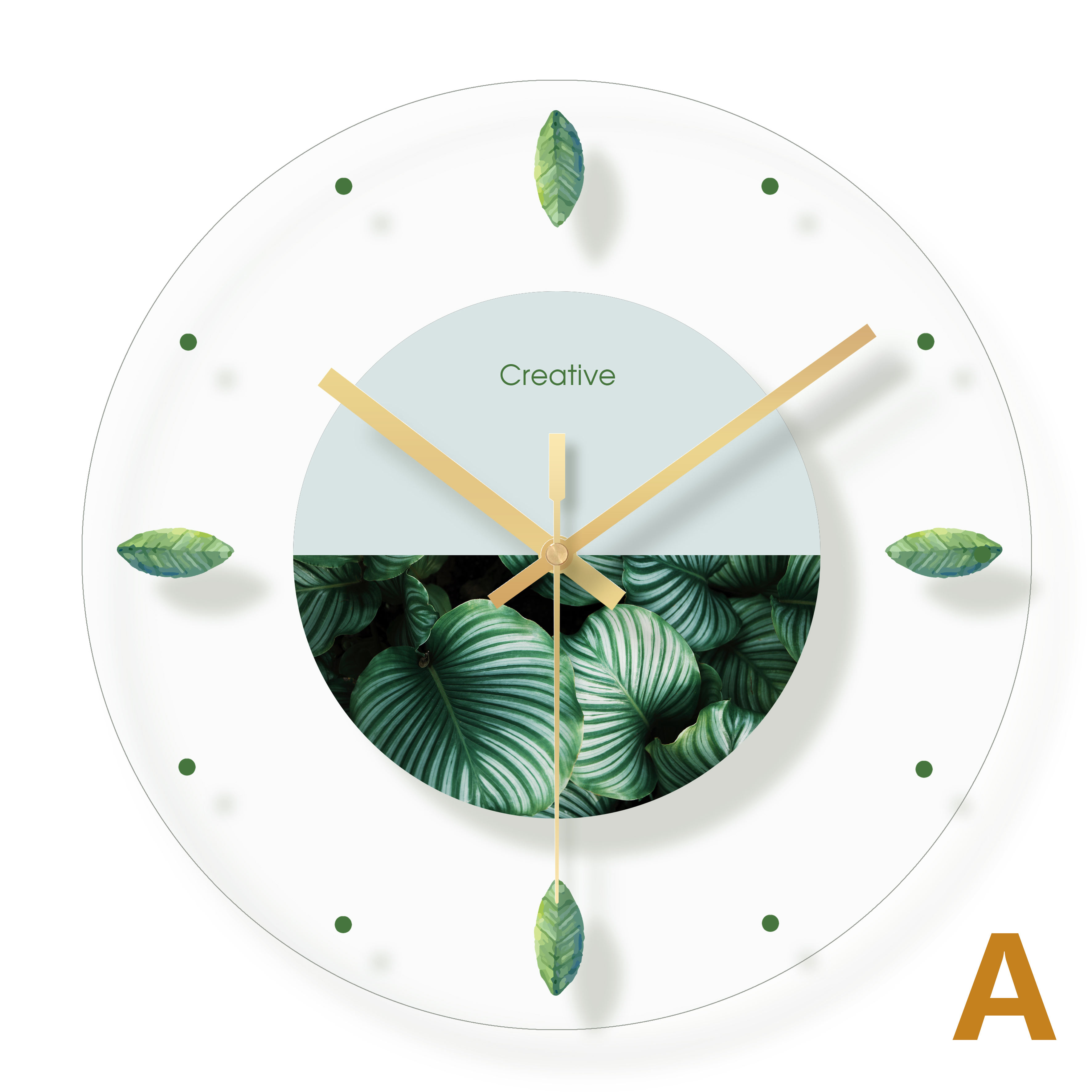 Flower fashion simple style glass wall clock