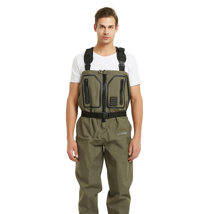 High quality 3 layer zipper chest waders waterproof and breathable stockingfoot wader for fly fishing
