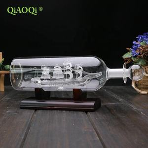 Glass sailing ship in clear glass bottle for home decoration gifts
