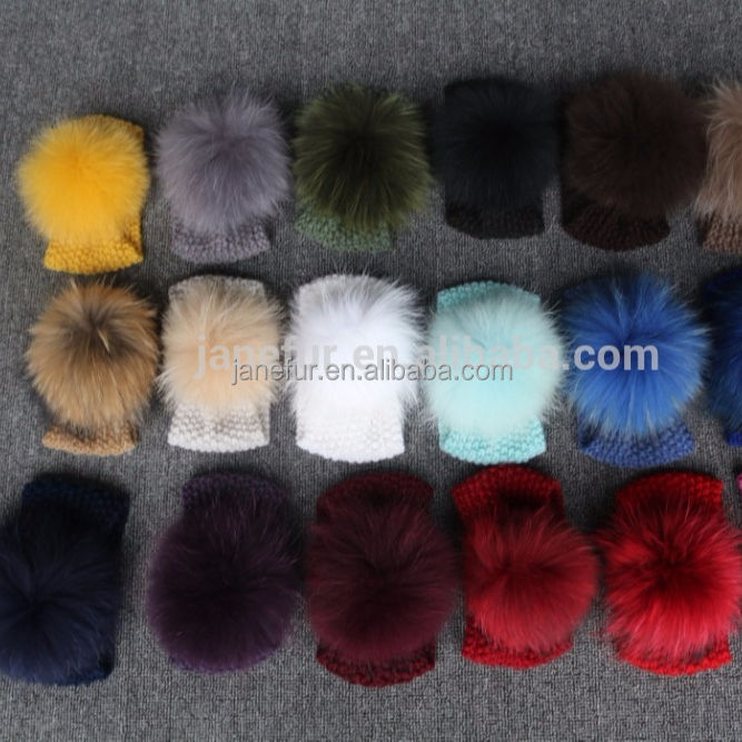 Latest fashion lady gift custom match color raccoon fur pompom knit headband