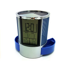 Desktop calendar with pen holder with electronic Clock weatherglass With calendar