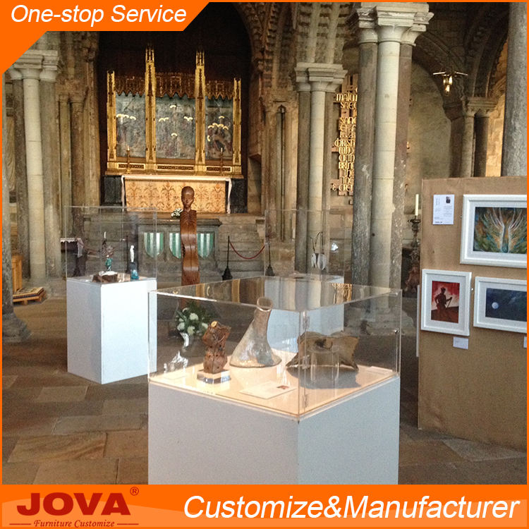 China Manufacturer Display Counters Museum Pedestal Display Case with Tempered Glass And Led Lights