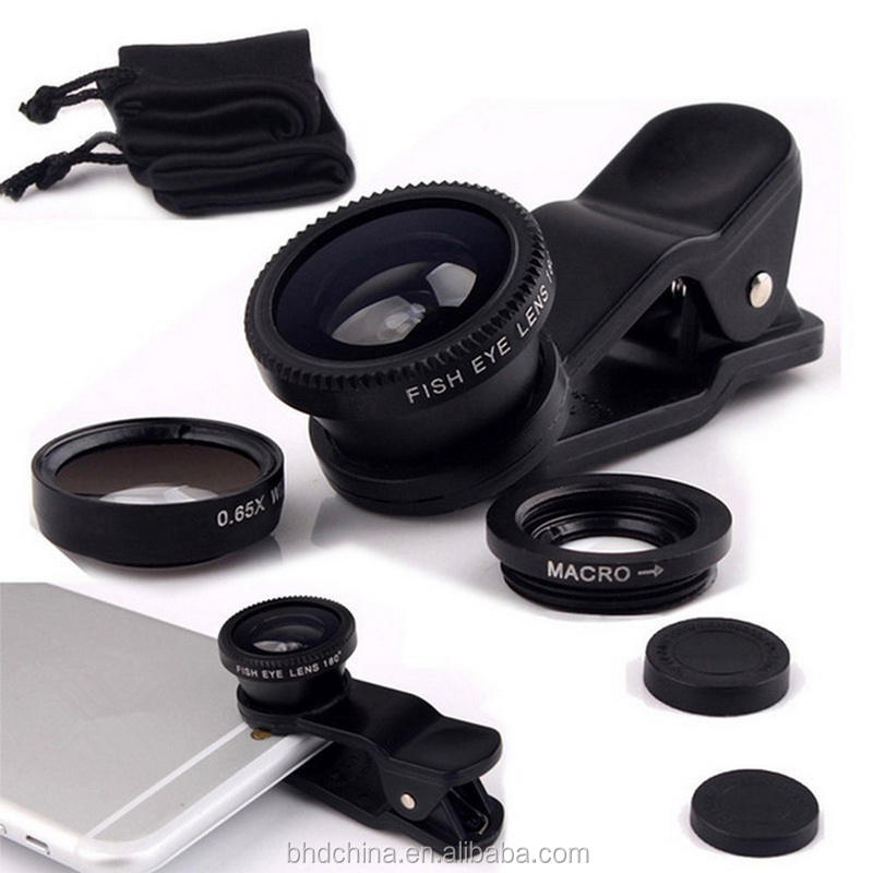 3 in 1 Fish eye Lens selfie Wide Angle mobile phone fisheye Lenses For iPhone 5 6 7 plus for Smartphone Camera lens