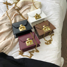 Online shopping High quality handbags for women mini bag solid lock flap candy Leather crossbody phone bag purses