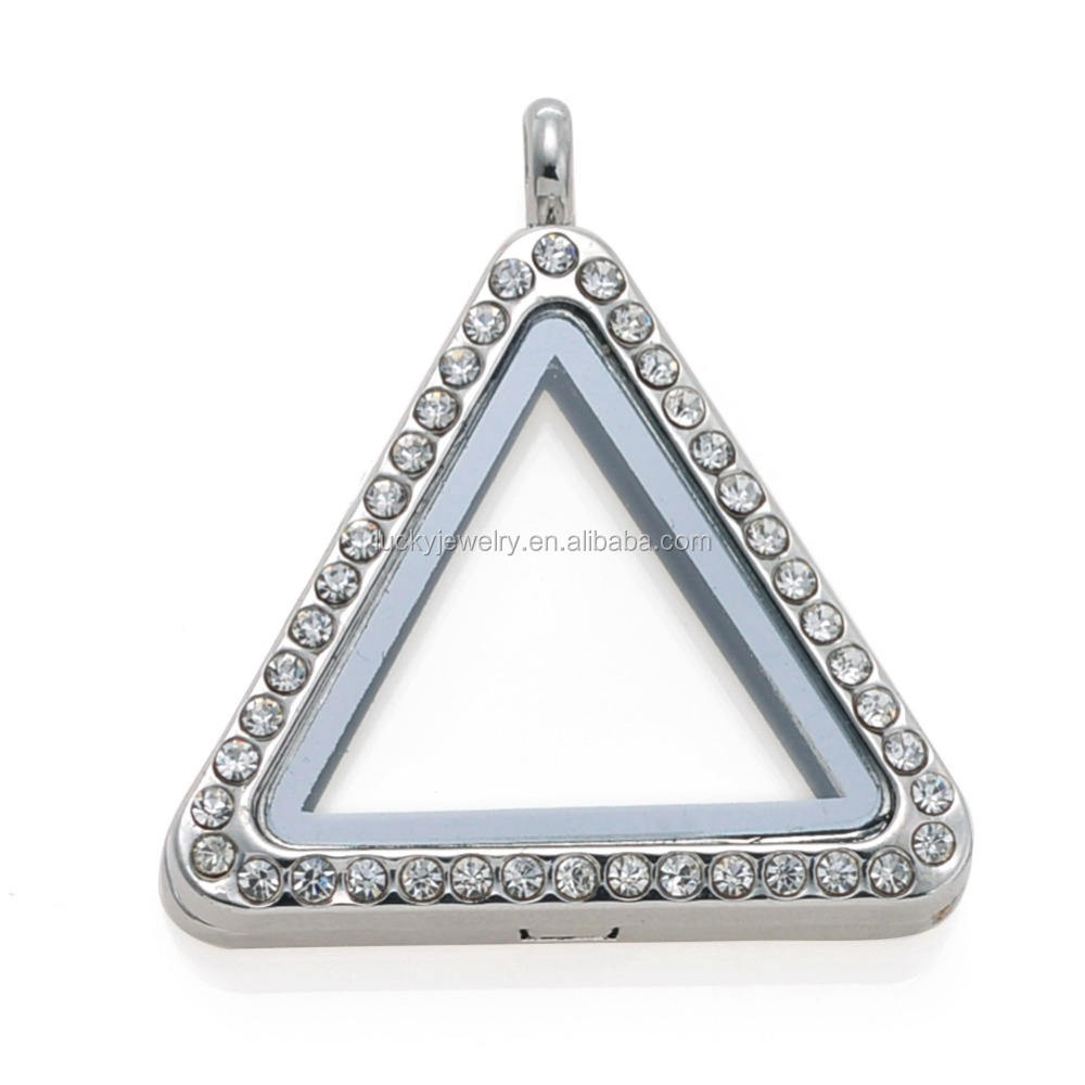 Triangle [ Floating Locket ] Locket Pendant New Triangle Shape Alloy Jewelry Main Material And Charm Pendants Type Glass Memory Floating Locket