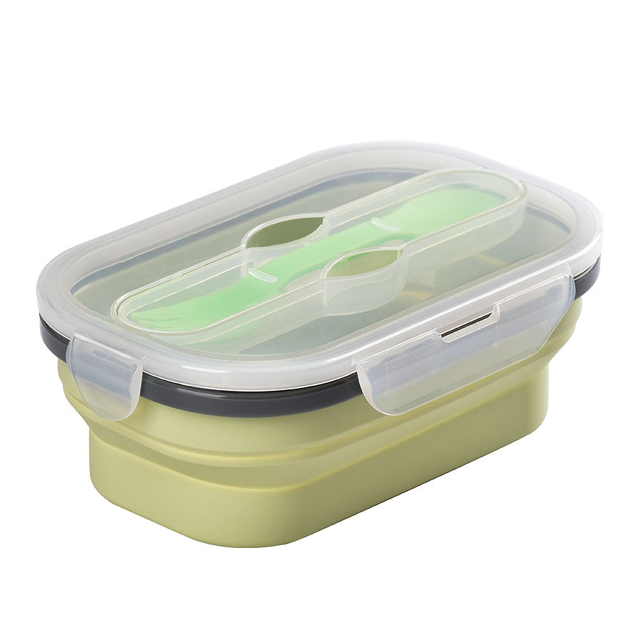 Dishwasher BPA-Free Silicone Food Storage Container Collapsible Lunch Bento Box