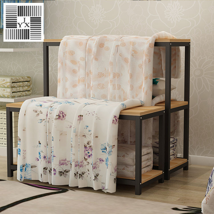 showroom free standing store display shelf High and low ark curtain towel cloth display fabric rack