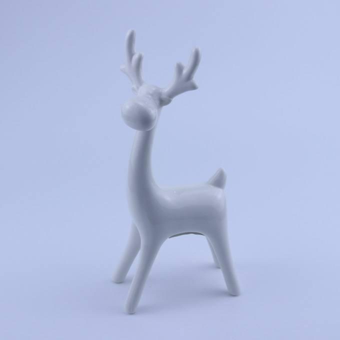 Рождественский белый цветной керамической статуя оленя фигурка для украшения дома
