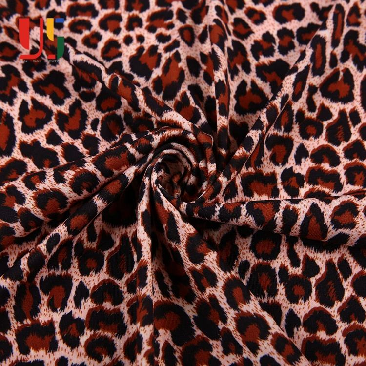 Polyester spandex ity single jersey sexy satin snow leopard print fabric for dress