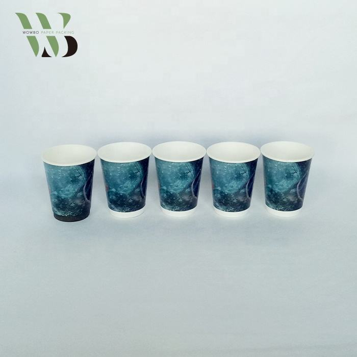 12oz 16oz white double wall hot coffee paper cups with plastic lid