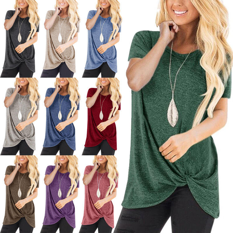 13Colors Women's Fashion Spring Summer Casual Short Sleeve Tunic Tops Round Neck Irregular Shirts Ladies Pure Color Knot Blouses