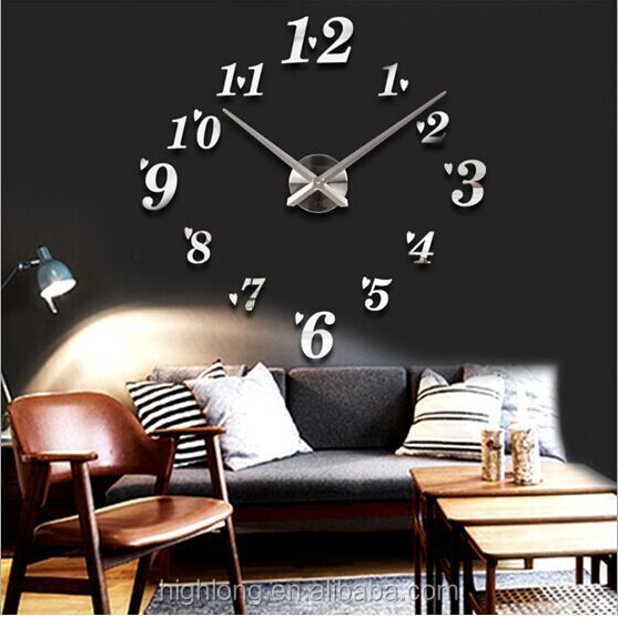 Numbers Beautiful design sliver for home decoration clock wall heart clock