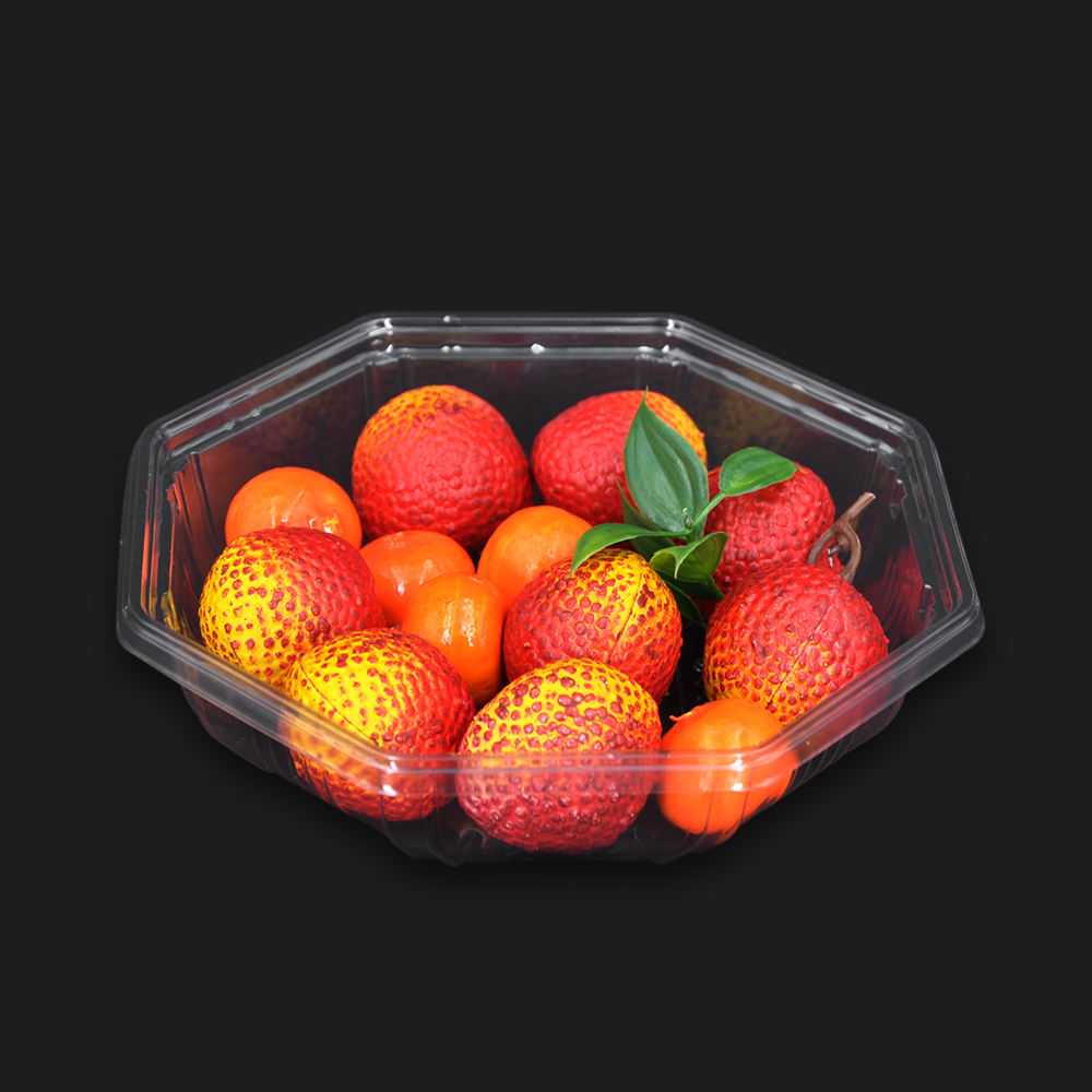 Blister round container disposable tray PET PVC plastic wholesale transparent box for fruit