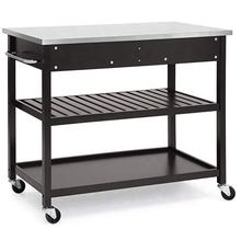 Huayao Rolling Mobile Portable Kitchen Island 2 Spacious Drawers 2 Lower Storage Shelf Handle Towel Rack Utility Serving Cart