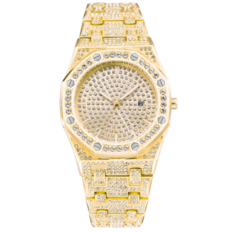 18 K Mens Watches Fashion Women Iced out stainless steel Quartz Wristwatch