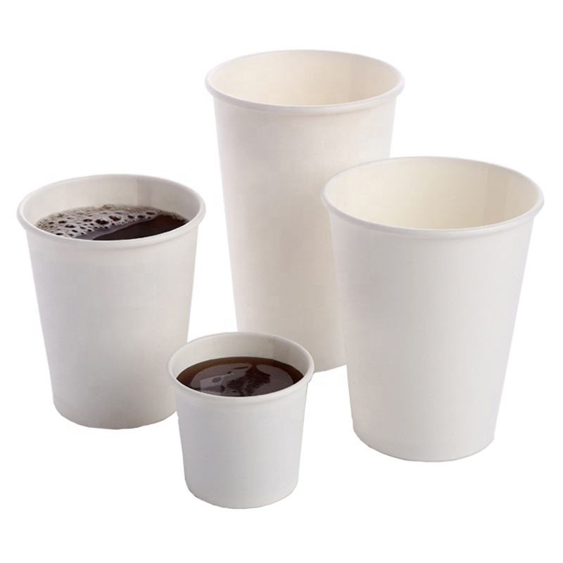 3/4/7/8/9/12/16 oz Customized Logo Eco-friendly 18 PE coated tea Paper cup wholesale disposable coffee paper cups with Lid