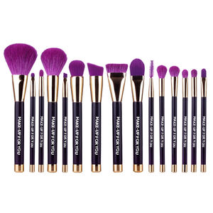 Private label purple 15pcs brushes cosmetic your own brand makeup brush