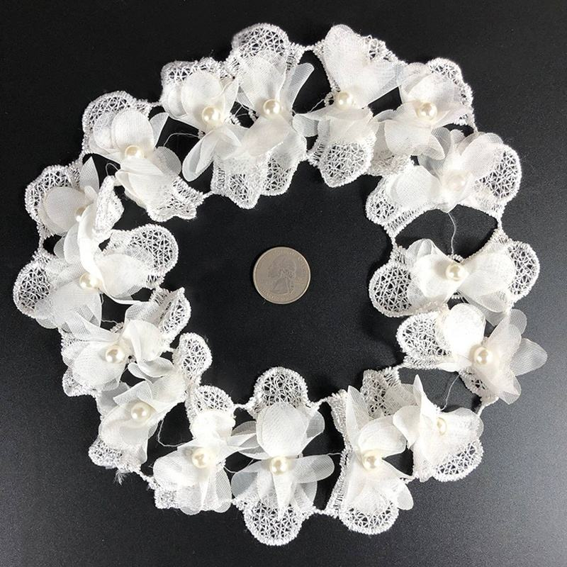 Fashion Popular Moth Orchids Pearl Beaded Lace Crochet Applique Headpiece For Women