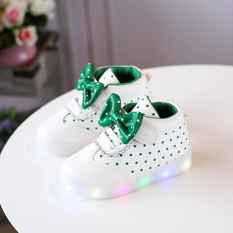 fashion newest bowknot lovely trendy luminous flashing warm ankle kids winter shoes baby