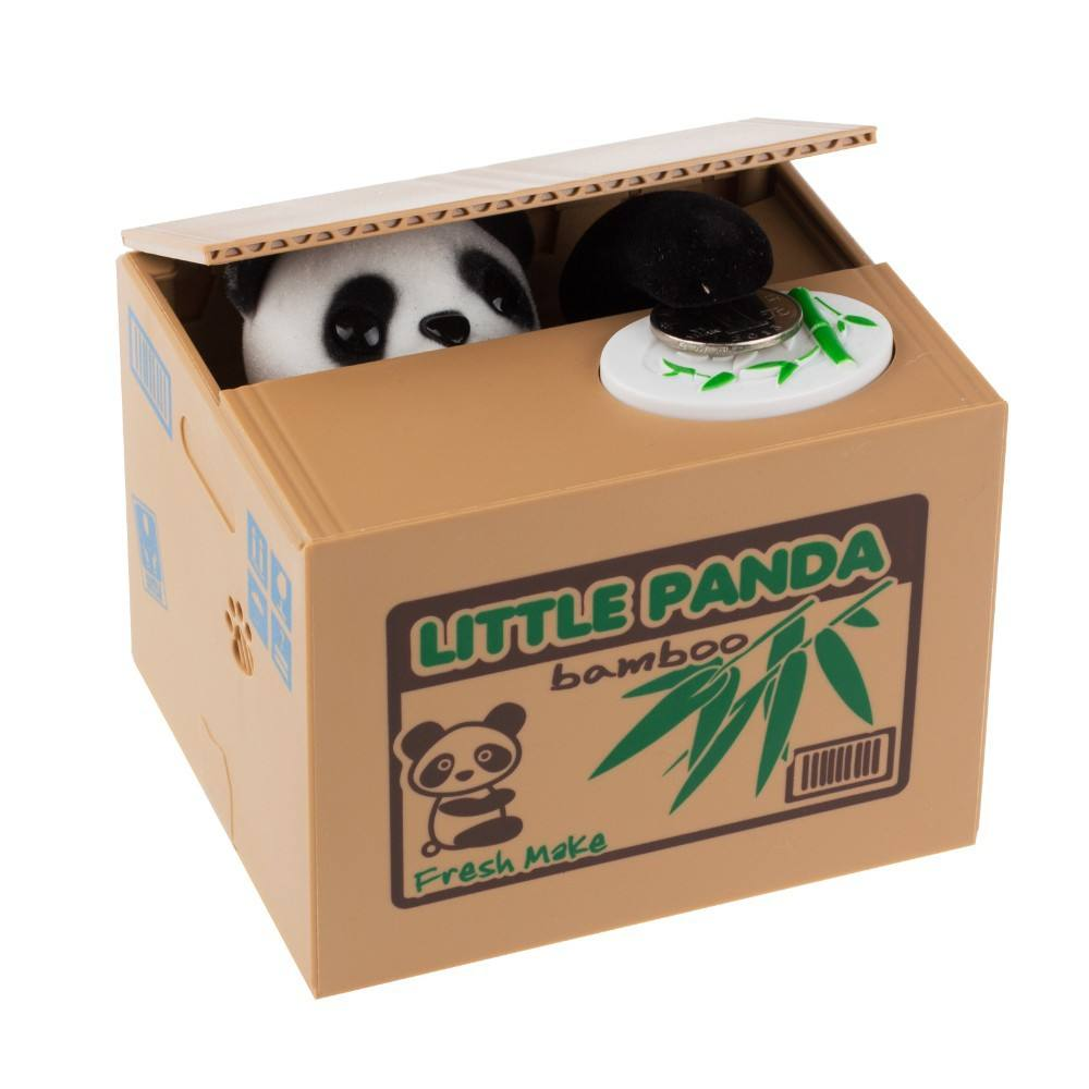 funny toy panda steal money automatic steal coin piggy bank