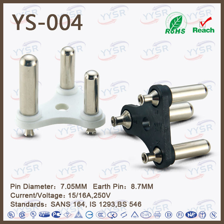 big south africa plug insert(YS-004 SABS 8.71MM 7.06MM 15/16A plug component) for india adapter
