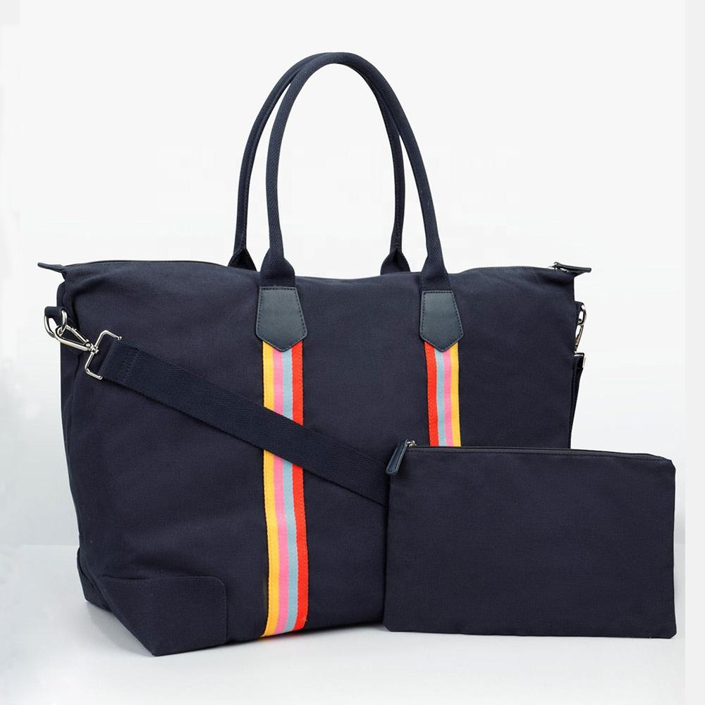Top handle women 색 stripe lady denim canvas 핸드백 여행 weekender 백 holdall