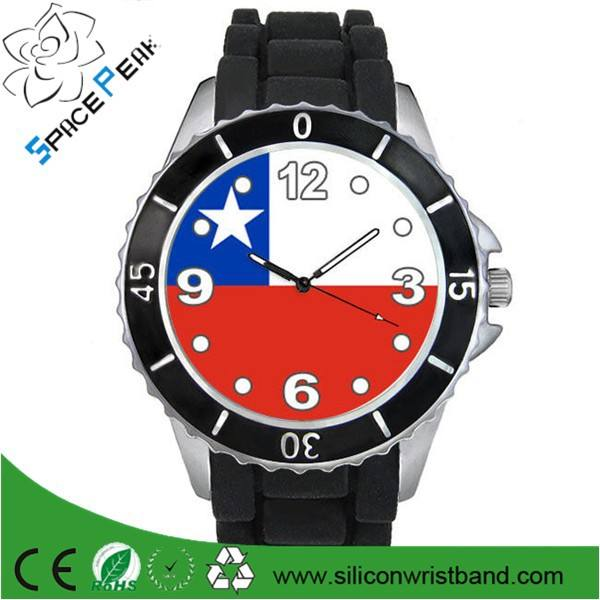 Chili pays drapeau hommes mesdames horloge unisexe noir <span class=keywords><strong>gelée</strong></span> de Silicone de caoutchouc montre