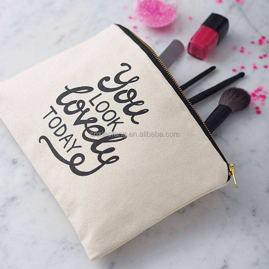 2020 wholesale blank plain cotton canvas cosmetic bag bulk cotton canvas makeup bag for women