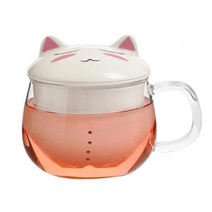 Fancy cat pyrex glass tea infusore tazze in ceramica con filtro e coperchio Del Fumetto Frog Design