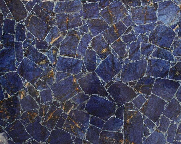 Natural translucent sodalite blue agate gemstone slab