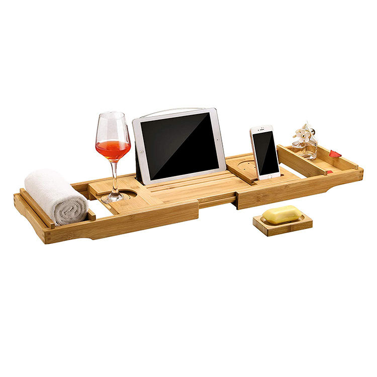 Bamboo Bath Rack and Caddy with Expandable Wood Tray Holds Drink, Book/Tablet, Soap, Phone