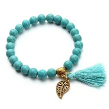 New Arrival Natural Turquoise Beads Bracelet with Metal Leaf and Tassel Pendant