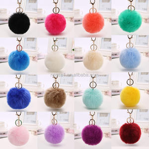 Fashion Colorful Pom Pom Fur Keychain Wholesale NSKY-0005