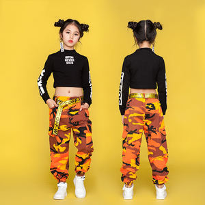 Jazz Dance Costumes For Girls Black Long Sleeve Tops Camouflage Pants Children Hip Hop Costume Kids Street Dance Clothing DN1741