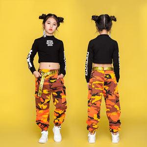 Jazz Dance Costumes For Girls Black Long Sleeve Tops Camouflage Pants Children Hip Hop Costume Kids Street Dance Clothing DN1741