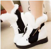 Winter increased large base within the new rabbit hair short boots women boots fashion warm boot
