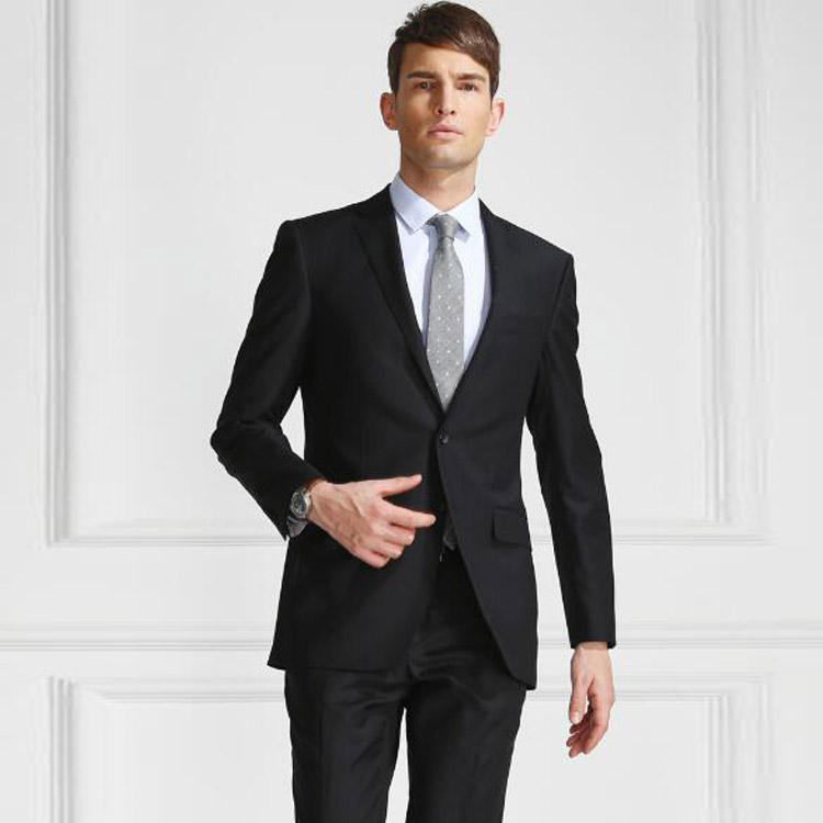 Jacket and pants two pieces suit set classic black notch lapel formal suit