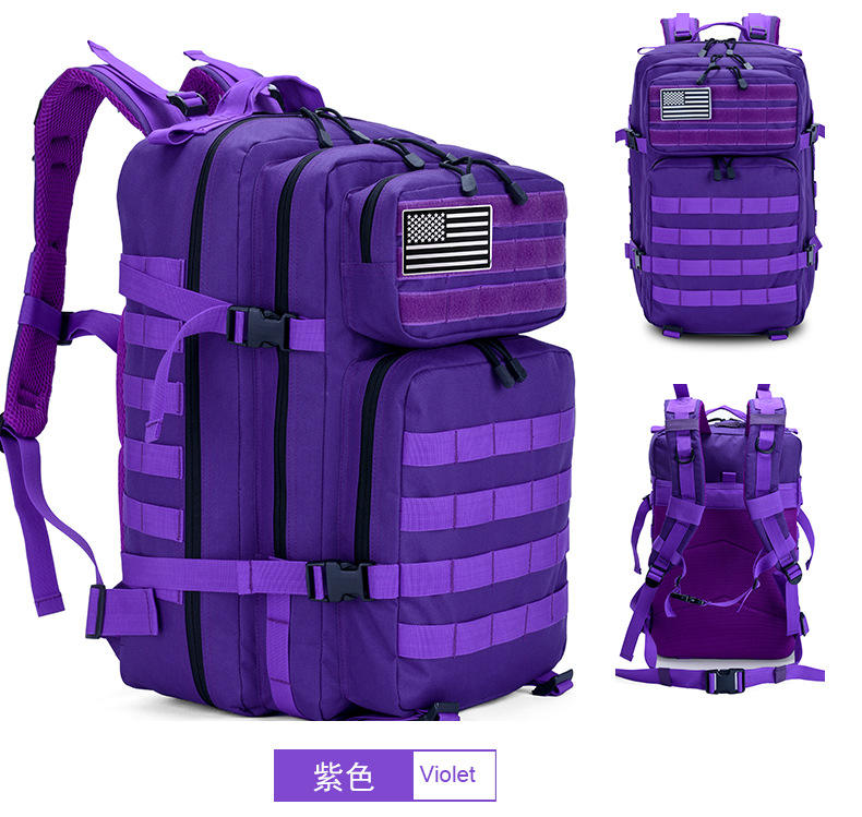 3 Days Backpack Use 45L Capacity waterproof tactical purple backpack for hiking