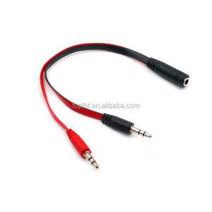 0.2m DC 2*3.5mm Cable Two Male Adapter To 3.5MM Female Audio Stereo Connection Cables 3.5mm Audio Splitter